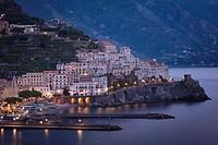 Early morning twilight view of Amalfi, Gulf of Salerno, Campania, Italy.