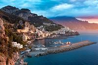 Sunrise view of Amalfi, Gulf of Salerno, Campania, Italy.