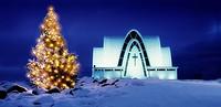 Christmas time, Kopavogur Church, Kopavogur, a suburb of Reykjavik, Iceland.