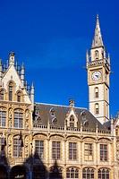 Belgium, Flanders, Ghent (Gent). Former Post Office building on the Korenmarkt (Corn Market).