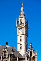 Belgium, Flanders, Ghent (Gent). Former Post Office clocktower.