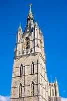 Belgium, Flanders, Ghent (Gent). Het Belfort van Gent, 14th century belfry.