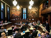 Rotterdam, Netherlands. City Counsil in session, democratically debating the cities political situation.