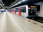 Amsterdam, Netherlands. Subway train waiting for new passengers on his paltform at Grand Central Station.