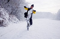 cyclist enjoys riding on snow-covered trails