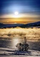 Sunset and Fog, Wintertime Aukureyri, Northern Iceland.