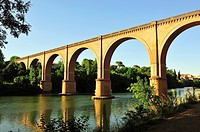 The railway bridge, AKA viaduct of Casteviel, over the river Tarn, XIXth century. Albi city, Tarn department, Occitanie region, France