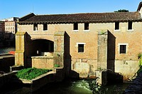 The old mill at the riverside of Tarn. Albi city, Tarn department, Occitanie region, France