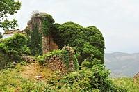 Ruins of the Monastery of San Victorian, XI-XVIIIth centuries. El Pueyo de Araguás, Huesca province, Spain