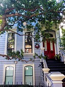 San Francisco, CA, USA, Street Scenes, Victorian Architecture, Townhouses Cottage Row Garden, in Fillmore District