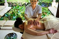 Doing a thai massage in the Six Senses Resort, Koh Yao Noi, Phang Nga Bay, Thailand, Asia. Six Senses Yao Noi sets the highest benchmark for island re...