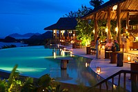 Six Senses Resort, Koh Yao Noi, Phang Nga Bay, Thailand, Asia. Restaurant near the swimming pool called The Hilltop Reserve in front of the sea. Six S...