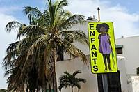 warning road sign, Dakar, Senegal, West Africa.