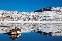 Sapinero, Colorado - A floating dock on Blue Mesa Reservoir in Curecanti National Recreation Area. The reservoir was created by a dam on the Gunnison ...