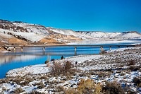 Sapinero, Colorado - The U. S. Highway 50 bridge over Blue Mesa Reservoir in Curecanti National Recreation Area. The reservoir was created by damming ...