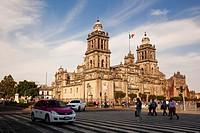 View to the Metropolitan Cathedral on La Plaza de la Constitucion Square at the the city center, El Zocalo, Mexico City, Mexico, Central America