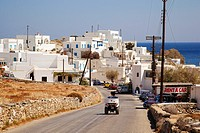 View to the whitewashed houses in the port village Karavostasis, Folegandros, Cyclades Islands, Greek Islands, Greece, Europe