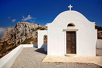 Chapel on the top of the hill above the Kastro-Castle area, Sikinos, Cyclades Islands, Greek Islands, Greece, Europe.