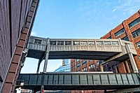 New York, NY. HIgh Line and Enclosed Pedestrian Overpass Crossing Over Tenth Avenue.