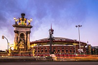 Plaza Espana square and Las Arenas shopping mall -antique bullring- in Barcelona Catalonia Spain.