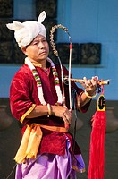 Manipur tribal musician performs at the Sangai Festival, Imphal, Manipur, India.