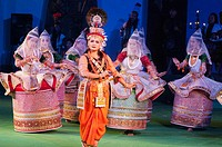 All-India dance troupe performing in 'Colours of NE India' at the Sangai Festival, Imphal, Manipur, India.