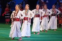 Arunachal Pradesh dancers performing the Bugan dance in 'Colours of NE India' at the Sangai Festival, Imphal, India.
