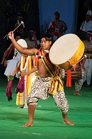 Pung Dholl Dollak Chalom dancers from Manipur performing in 'Colours of NE India' at the Sangai Festival, Imphal, India.