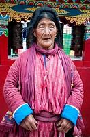 Monpa woman of the Tawang Valley, NE India, visiting town to celebrate the visit of an eminent Tibetan Lama, the 17th Karmapa Lama.