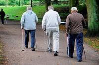 Three old men with walking poles in Ystad, Sweden.