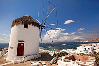 Traditional windmill called Bonis used as Folklor Museum on the hill above the town center, Mykonos, Cyclades Islands, Greek Islands, Greece, Europe
