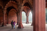 Couple in Diwan-i-Am, Red Fort, Delhi, India.
