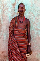 Portrait Of A Hamer Man At The Turmi Monday Market, Turmi, Omo Valley, Ethiopia.