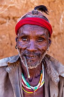 Portrait Of A Hamer Tribesman At The Turmi Monday Market, Turmi, Omo Valley, Ethiopia.