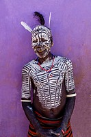 Portrait Of A Karo Tribesman At The Turmi Monday Market, Turmi, Omo Valley, Ethiopia.