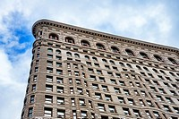 Looking up at the West Side of the Flatiron Building, a New York City Landmark.