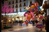 Air Balloons at Night, Granada, Andalusia, Spain, Europe.