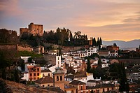 Albaicin Neighborhood at Sunset, Granada, Andalusia, Spain, Europe.