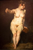 Seated nude by Eugene Delacroix at the old national gallery in Berlin.