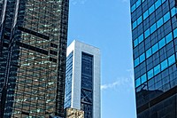 New York City. Looking up at Skyscrapers. Back of Trump Tower at Left Front.