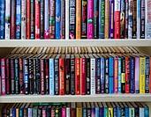 Shelves of books.