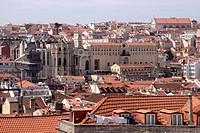 Lisbon Baixa skyline Portugal.