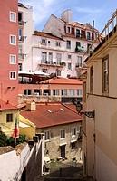 Residential buildings in Alfama Lisbon Portugal.