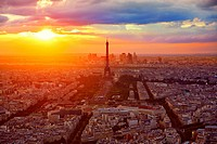 Eiffel Tower in Paris aerial sunset at France.