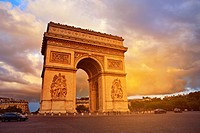 Arc de Triomphe in Paris Arch of Triumph sunset at France.